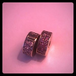 Pandora Set Of 2 Pink & Purple Pave Clip Charms